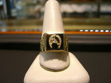 VINTAGE- MENS RING 14 KARAT YELLOW GOLD  AND ONYX HORSEHOE SIZE 13!!!