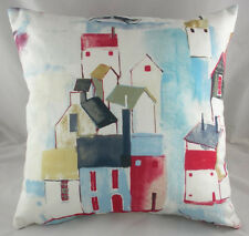 "17"" NAUTICAL SEASIDE THEME ""ST IVES"" HOUSES BOATS CORNWALL  Woven Cotton Cushion"