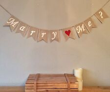 Wedding Proposal Marry Me Engagement Bunting Banner Vintage Hessian