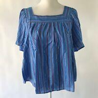 Women's Plus Wonderly Square Neck Yarn Dye Striped Top Blue 1X NWT