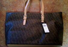 BCBG Paris Extra Large Brown Faux Leather Monogrammed Logo & Tan Strap Bag
