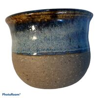 """Small Hand thrown Bud Vase Pottery Blue Brown Glaze 2.5""""X2.5"""""""