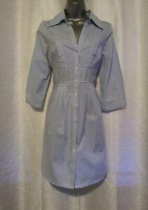 H&M Blue & White Striped Summer Dress Size UK 14 US 10 EUR 40