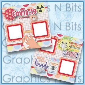 "CORONA QUARANTINED 12""x12"" Printed Premade Scrapbook Pages"