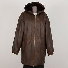 Women's Winter Leather Coat Hooded L Large Brown Faux Fur Liner WILSONS