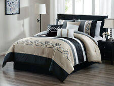11P Lucas Geometric Line Embroidery Comforter Curtain Set Beige Black White King