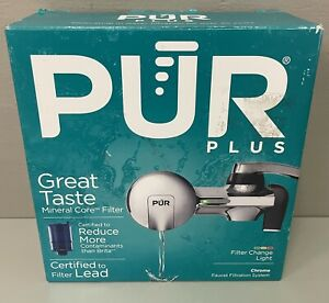 NEW PUR Plus Chrome Horizontal Faucet Mount Water Filter System - PFM400H