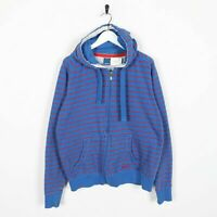 Vintage REEBOK Small Logo Zip Up Striped Hoodie Sweatshirt Blue | Medium M