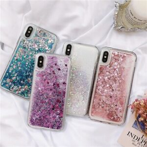 For iPhone 11 Pro Max SE  X XR XS 7 8 Plus Shockproof Case Liquid Glitter Cover