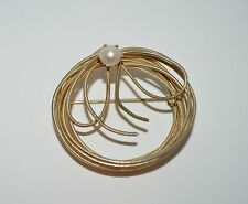 Lopped wire & pearl like a coiled Rope Pin Brooch Tie Scarf Pin