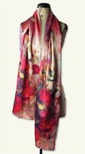 """Victorian Trading Co Pink Watercolor Roses 100 Silk Scarf 67"""" Ship"""