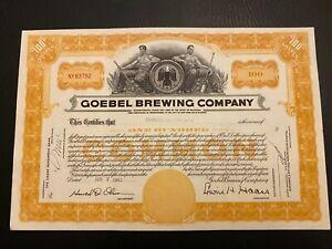 1961 GOEBEL BREWING COMPANY Stock Certificate DETROIT, MICHIGAN Rare Beer