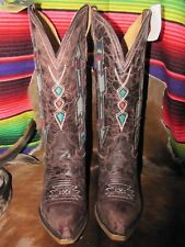 Roper  Brand New  Embroidered Arrow Boots With Aztec Pattern on Vamp Genuine Lea