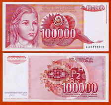 P97 JUGOSLAVIA/YUGOSLAVIA 100000 Dinara 1989 UNC