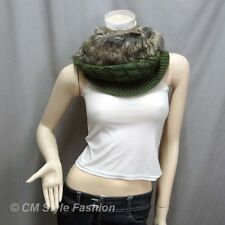 Faux Fur Knitted Neck Warmer Wrap Scarf Snood Green OS