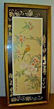 Vintage Asian Chinese Oriental Painting Birds & Flowers On Gold Silk Art Print