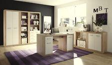 Arbeitszimmer Büroeinrichtung Büromöbel Büro komplett CANCAN Eiche San Remo Weiß