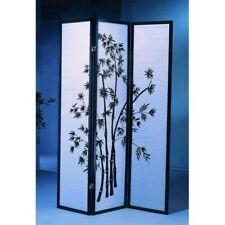 72 Inch Tall Oriental Shoji 3 Panel Room Divider Eucalyptus Design Black