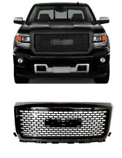 For 14-15 GMC Sierra Front Glossy Black Mesh With Frame Edge Hood Grille