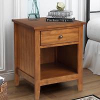 Solid Wood Cabinet End Table w/ Drawer Bedside Nightstand Bedroom Living Room