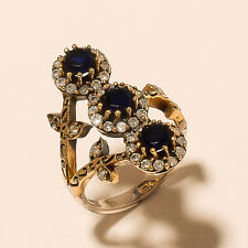 HIGH QUALITY TURKISH 925 STERLING SILVER GEMSTONE BLUE SAPPHIRE JEWELRY RING 8.5