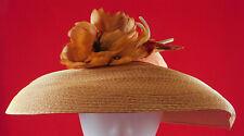 Vintage New Look Style Natural Straw Brown Silk Flower Wide Brim Cartwheel Hat