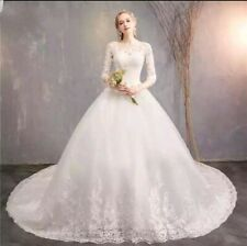 UK Ivory 3/4 Sleeves Lace A Line Cathedral Train Wedding Dresses Size 6-20