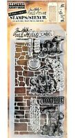 Stone & Slate Mushrooms Clear Acrylic Stamp & Stencil Set by Tim Holtz NEW!