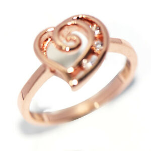 Rose Gold Filled CZ Crystal Heart Love Ring for Womens Lady Girls Jewelry Size 6