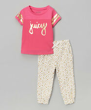 Juicy Couture Pink & White Gold Accent Tee & Pants Size 4T 5 6 MSRP $69 NWT