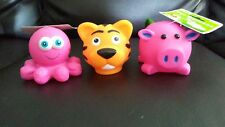 3 Dog Chew Toys Pet Puppy Teething Play Pink Pig Octopus Tiger Ball Fetch Squeak