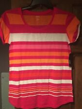 a.n.a. Women's Ladies Shirt Size Small NWT Pink/orange/white Short Sleeve