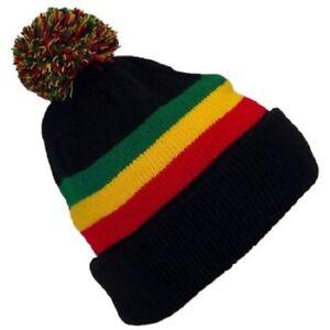 Rasta Beanie Hat Black Winter Cuffed Pom Jamaican Reggae Warm Knit Cap