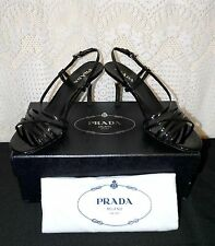 Prada NEW Black Leather Strap Steel Heel Sandal 36 ~ 36.5 M US 6 ~ 6.5