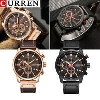 CURREN Business Men Leather Band Quartz Wristwatch Chronograph Six-needle Watch