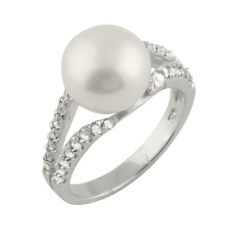 Fancy Sterling Silver ring with freshwater pearl and CZ RS-57