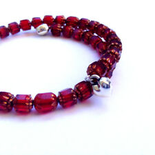 Red and gold glass beaded spiral bracelets set with hearts - Valentines gift