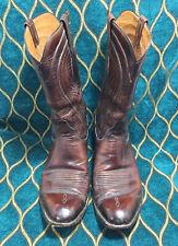 Vtg Brown Lucchess Men Leather Cowboy Boots Size 12D