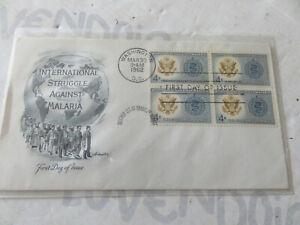 Busta primo giorno UNITED STATES 1962 Malaria in block of 4 illustrated