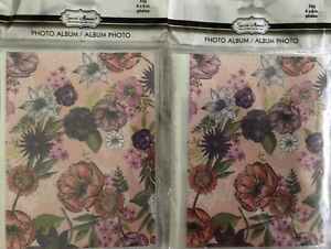 """Lot of 2 Special Moments Photo Album 48 Pockets Fits 4"""" x 6"""" Photos Pink/Flowers"""