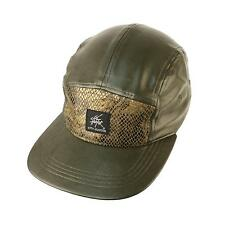 Faux Leather & Snake Skin 5 Panel Snapback Biker Cadet Cap Hat Adjustable Olive