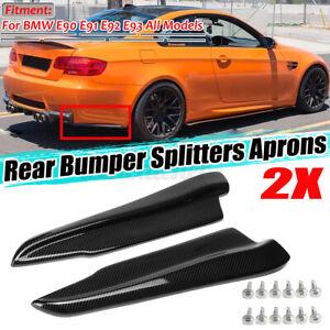 For BMW E90 E91 E92 E93 Carbon Fiber Look Rear Bumper Splitter Diffuser