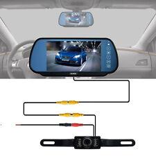 """7"""" TFT LCD Monitor Mirror Car Wired Rear View Camera Backup Kit Night Vision US"""