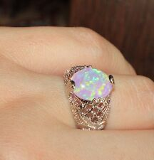 -pink-fire-opal-ring-gems-silver-jewelry-sz-625-cocktail-classic-vintage-style