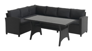 Ullehuse Rattan Corner Sofa Set with Wooden Top Table for 6