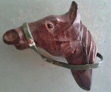 VINTAGE HAND CARVED WOOD HORSE SCARF FUR CLIP 1950'S