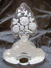 Czech/ Bohemian ART DECO style Intaglio Clear Frosted CRYSTAL PERFUME BOTTLE