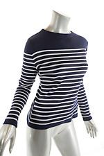 Le Phare de la Baleine Navy Cotton Blend White Striped 'Nautical' Sweater  Sz M