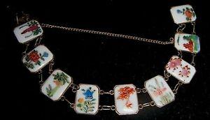 ANTIQUE Oriental Porcelain 9 PANELS Bracelet Floral Landscape Scenes GOLD FILLED
