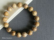 Brown & Beige Picture Jasper & Sterling Silver Beaded Stretchy Unisex Bracelet